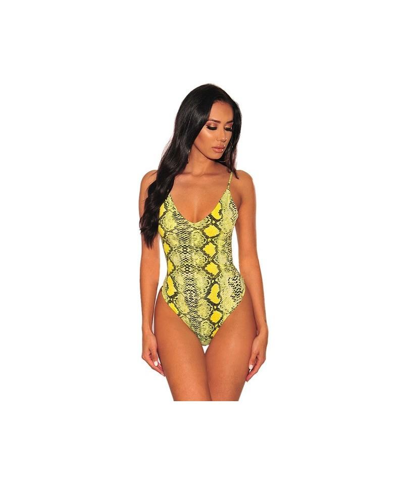 Woman Snake Print Spaghetti Straps Bodysuit Sexy Style Summer 2019 Female Sleeveless Body Top Clothing Ladies Bodysuits - Ye...