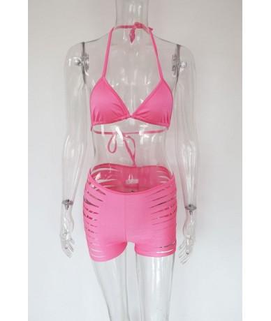 Sexy Halter V Neck Neon Orange Slit Bikini Shorts Set Fashion Womens Hollow Out Matching Set Beach Wears Wholesale - Rose Re...