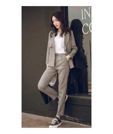 Women 2 Piece Sets Gray Casual Blazer & High Waist Pant Office Lady Notched Jacket Pant Suits Korean suit Femme - grey - 4J4...