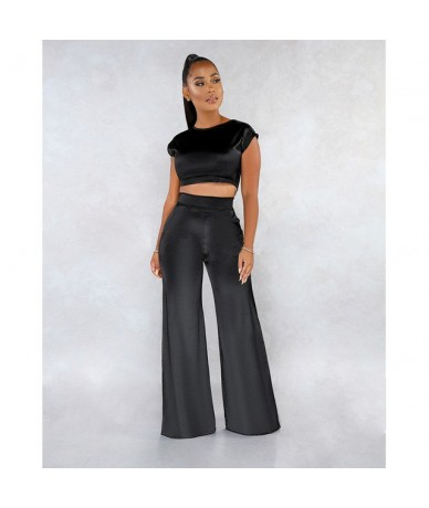 Satin 2 piece set women Short Sleeve Crop Top and wide Leg Long Pants Set Sexy Tracksuit Club Outfits Elegant Matching Sets ...