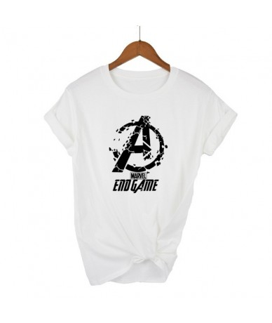 END GAME MARVEL t Shirt woman cotton short sleeves Casual male tshirt marvel shirts tops Graphic Tees plus size - white - 4V...