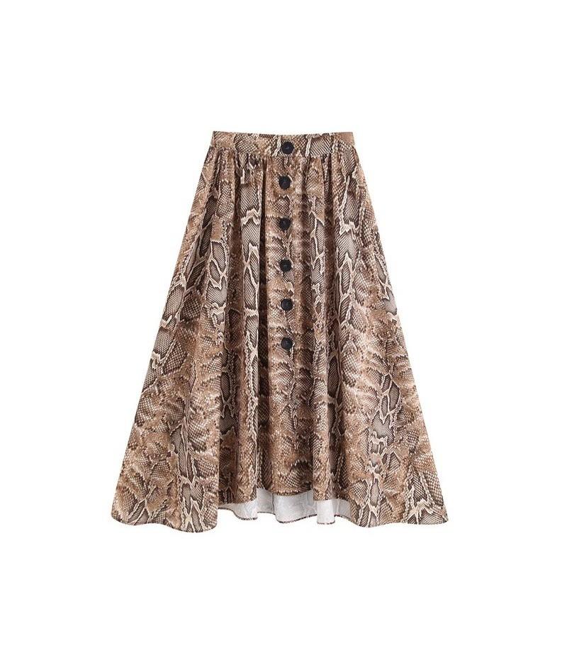 Summer Euro Design Front Buttons Snake-Skin Print A-Line Skirt Women Chic Skirts Saias - as photo - 4P4173557424