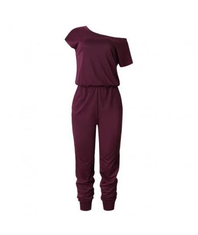 2019Spring Summer Fashion Women Slant Shoulder Casual Pocket Jumpsuit Short Sleeve New Solid Bodysuits Women Shorts Rompers ...