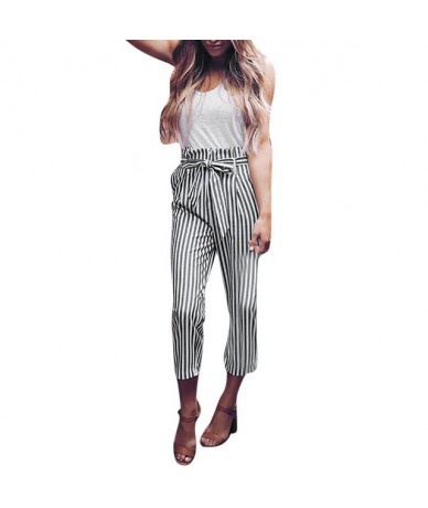 women's pants High Waist Harem Pants Women Bowtie Elastic Waist Stripe Casual cargo pants women - as show - 4V4135234948-3