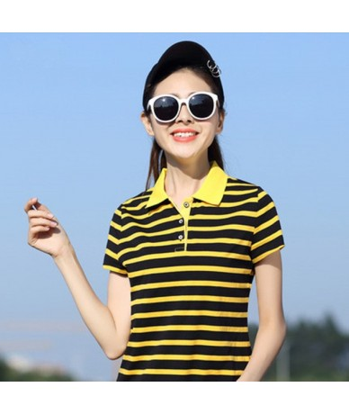 2017 Women Polo Shirt Striped Short Sleeves Collar Ladies Casual M-XXXL Camisets Mujer Summer Tops Style Marca Senhora YY640...