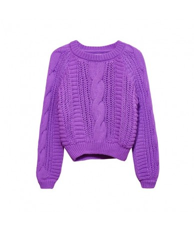Women Sweaters Warm Pullover And Jumpers Crewneck Pullover Twist Pull Jumpers Autumn 2019 Knitted Sweaters - purple - 4X3068...