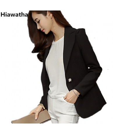 New Arrival Autumn Coat Women's Black Elegant Long Sleeve Blazer Fashion Single Button Pockets Blazer And Jackets BL010 - Bl...
