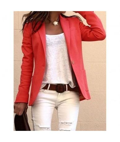 Women Elegant Business OL Coat Slim Suit Solid Color Long Sleeve Jackets FDC99 - Red - 5L111257287762-5