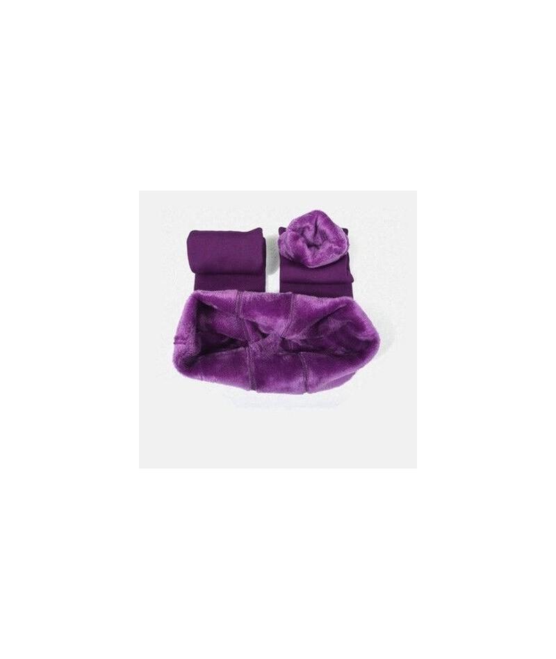 Warm Plus velvet Leggings Winter Women Polyester Ankle-Length Jeggings Standard Push Up Casual Solid Legging Women - Purple ...