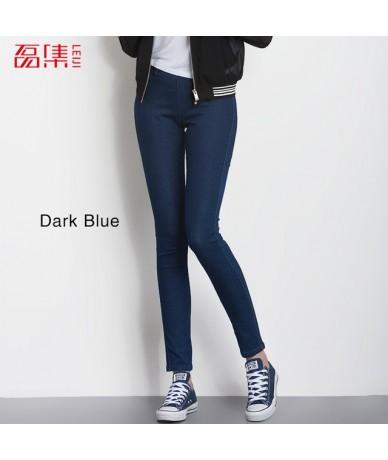 2019 Plus size Black Colors Mid Waist Full Length Office Lady Skinny Pencil Denim Stretch legging Women Jeans 5358 - Dark bl...