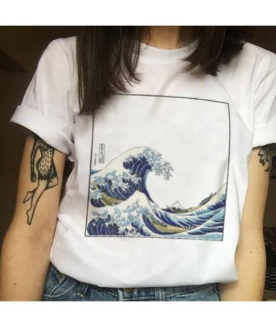 The Great Wave Off Kanagawa Harajuku Kawaii T-shirts Women Femme T Shirt Casual Tops Tee Vintage Womens - N164-White - 4N415...
