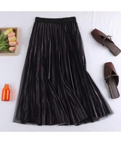 vintage blue purple black brown flexible stretch high waist midi flare a line tulle velvet summer skirt for women womens ski...