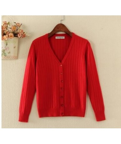 Candy Color Spring Autumn Thin Cardigan Women Long Sleeve Knitted Sweater and Cardigan Female Tricot Jumper Femme Tops - Red...