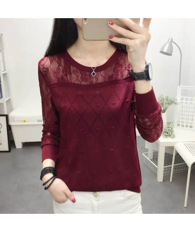 2019 summer NEW collar lace render unlined upper garment to hollow out long sleeve short relaxed joker autumn thin sweater f...