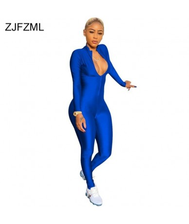 Front Zipper Sexy Party Jumpsuit Women Deep V-Neck Long Sleeve Skinny Overall Casual Spring Femme Club Full Length Romper - ...