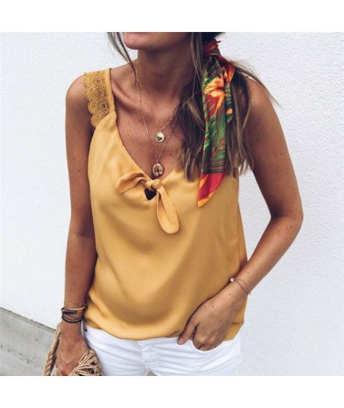 Fashion Women V-Neck Lace Top Elegant Sleeveless Summer Vest Loose Tank debardeur femme Tank Ladies Tee camisa feminina - YE...