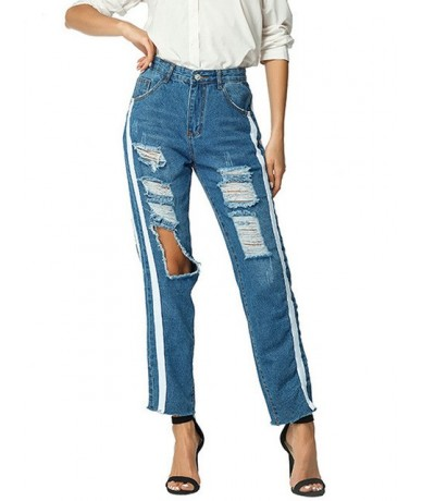 Boyfriend Hole Ripped Jeans Women 2019 Pants Gothic Denim Vintage Straight Jeans Wide Leg High Waist Casual Pants Female Jea...