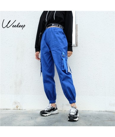 Women Pockets Patchwork Streetwear Pants Fashion High Waist Cargo Pants 2018 Spring Autumn Hip Hop Jogger Pencil Pants - Blu...