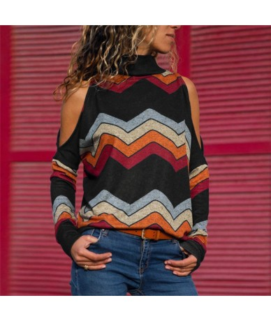 Fashion Ladies Fall Autumn Warm Causal Cotton Women Striped Turtle Neck Long Sleeve Casual Loose Pullover Shirt Blouse - bla...