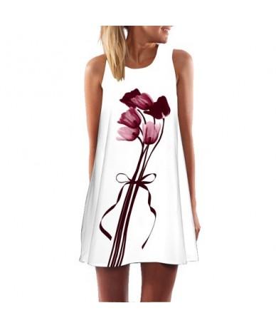 Brief White Dress Women New Fashion Feather Printing Short Chiffon Dress Sleeveless O neck Summer Style Casual Dresses - Whi...