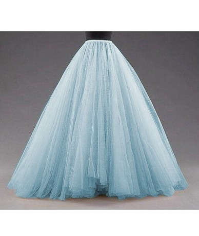 Sky Blue Puffy Long Tulle Skirts Women Vintage Gold Female Tutu Skirt For Bridal Photoshoots Custom Made Christmas Saias - Y...