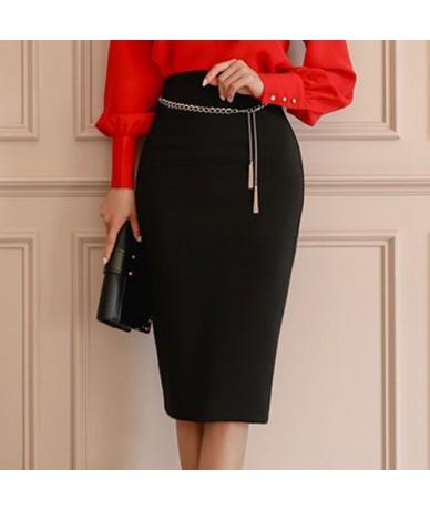 Women 2019 Spring OL 2-piece Suits Elegant Vintage Lace Up Shirt Top + Sexy High Waist Pencil Bodycon Skirt Work Set - Black...