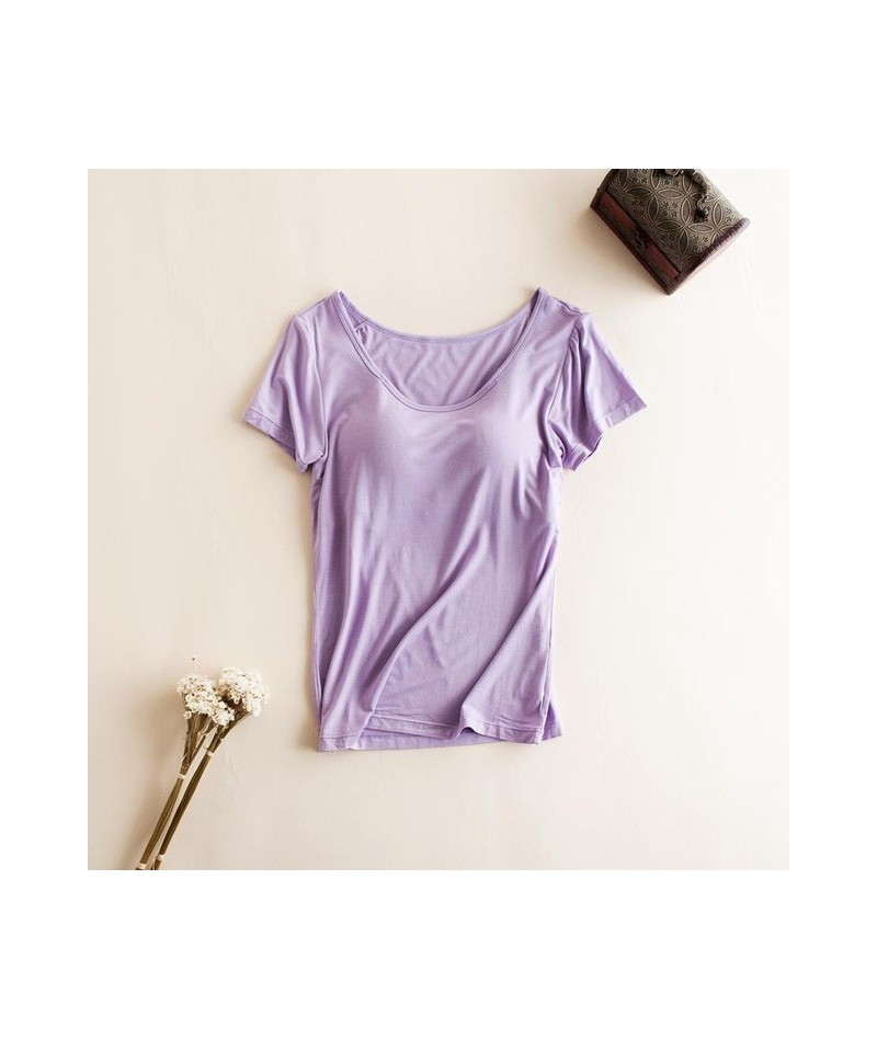Modal Built in Padded Bra T-shirt Women's Short Sleeve Breathable Clothing Female Bottoming T Shirt Tops Casual Lady Top Tee...