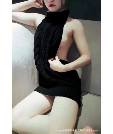 2019 Fall Turtleneck Sweater Sexy Backless Women Sweaters and Pullovers Japanese Cosplay Virgin Killer Knitted Sweater Knitw...