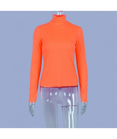 Turtleneck Long Sleeve T Shirt Women Autumn Spring Neon Green T-Shirt 2019 Streetwear Ribbed Knitted Top Tee Female - Orange...