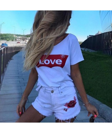 Ins T Shirt Women Casual Letter Love Printed Tee Shirt Femme Plus Size Cute 4XL Tops O-neck Streetwear Girls Loose White T S...