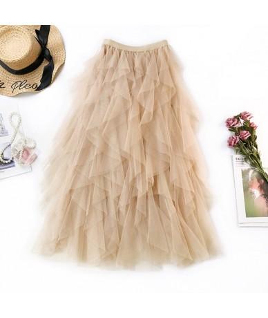 Fashion Tutu Tulle Skirt Women Long Maxi Skirt 2019 Spring Summer Korean Black Pink High Waist Pleated Skirt Female - Khaki ...