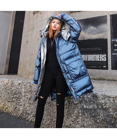 Smoky Blue Down Cotton Coats Women 2019 Long Jacket Hooded Parkas 2019 Bright Thicken Padded Jackets Female Warm Outerwear H...