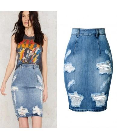 High Waist Split Denim Pencil Skirts Womens Ripped Jean Skirt Spring Summer Midi Skirt - Blue - 463970458802