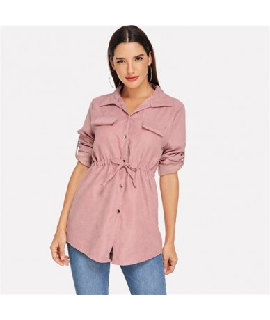 Elegant Pink Drawstring Waist Blouse Women 2019 Spring Casual Roll Up Sleeve Blouses Ladies V Neck Button Top - Pink - 4G308...