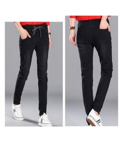 2019 korean jeans women Spliced High Waist Stretch Denim Pants Slim Pencil plus size Loose Lace up Jeans Women harem pant je...