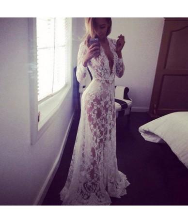 Fashion Summer Women's Lace Floral Boho Long Maxi Dress Hollow Out Long Sleeve V Neck Dresses Plus Size S-4XL New - White - ...