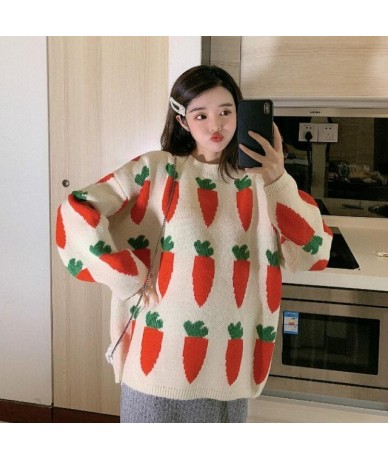Women's Clothing Cute Kawaii Thick Loose Carrot Embroidery Sweater Lady Harajuku Ulzzang Sweaters For Women Ulzzang Knitted ...