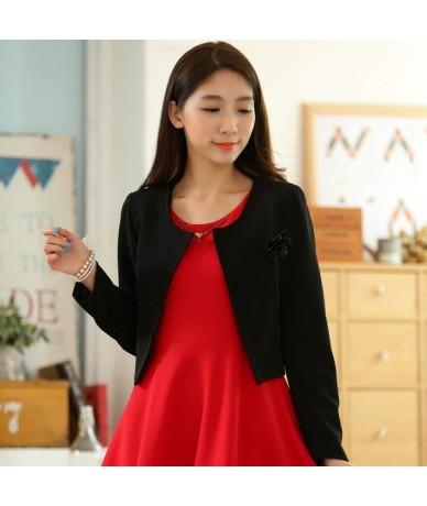 F~4XL Brand Plus Size Elegant Ladies Corsage Knit Outerwear Short Bolero Shawl Cardigan Women Work Party Coat Small Tops Jac...