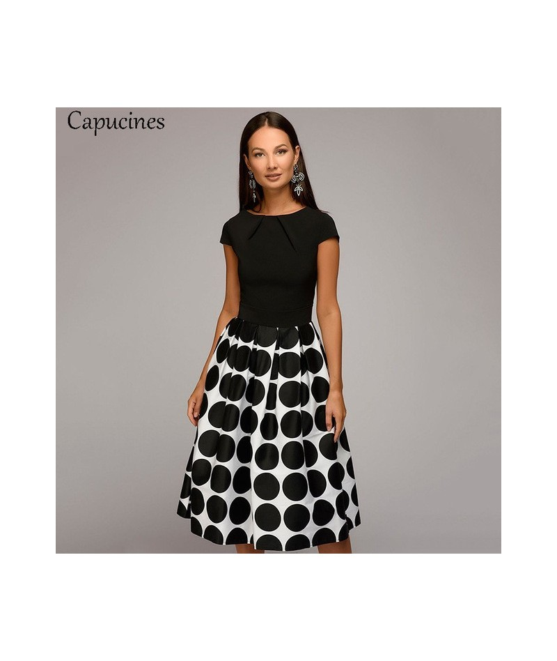 Hot Sale Vintage Dot Printing Patchwork A-line Dresses Women Summer Short Sleeves Round Neck Casual Dress Female Vestidos - ...