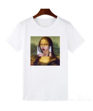 Mona Lisa cartoon fun fashion print T-shirt personality fashion Harajuku New summer casual tops - WTQ0195-white - 4K41468422...