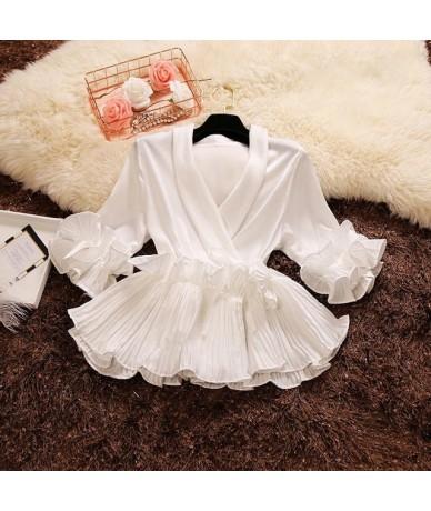2019 spring autumn new female Deep V-neck ruffles lace up chiffon shirt women's three Quarter sleeve shirts women blouses to...