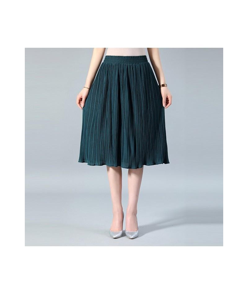 Women Chiffon Skirt Summer Thin Solid Pleated Skirts Womens Saias Midi Faldas Vintage Women Midi Skirt - Green - 493960838187-4