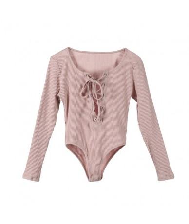 Sexy Women's Bodycon Bodysuit V Neck Long Sleeve Skinny Jumpsuit Romper Leotard Top - Pink - 4E3006907603-3