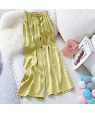 Summer Women's Pants Wide Leg Loose Lace Up Silk Satin Straight Beach Chiffon High Waist Pants Women Casual Trousers - yello...