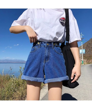 Beach Style womens shorts denim high waist sexy short harajuku denim wide legs street black blue hot sale 2019 summer new - ...