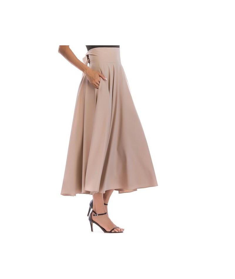 2019 Basic Maxi Long Skirts Plus Size 4xL 100cm Muslim Women Pleated High Waist Bow Split Ball Gown Longa Saias MS8323 - Kha...