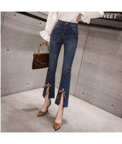 Women's Jeans 2019 Spring Summer High Waist Jeans Womens Boot Cut Pants Denim Trousers Slim elasticity Jean Ankle-Length Pan...
