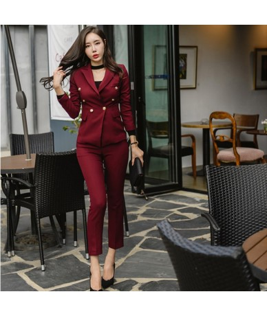 Sexy Wine Red Slim Style Women Pant Suits Slim Waist Buttons Blazer Jacket & Pencil Pant OL Style Women Set 2019 Spring - 4H...