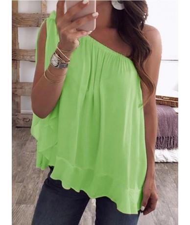 Sexy One Off Shoulder Chiffon T-shirt Summer Slim Sleeveless Ruffle Tee Shirt Tops Plus Size 5XL WDC2049 - YGreen - 4J300658...