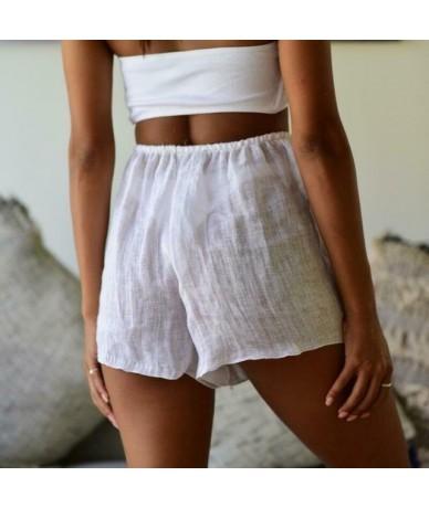 Yoga Shorts Casual Home Summer Sports Beach Elastic waistband High waist Trousers Pants Women Ladies - White - 5K111189738030-5